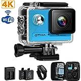OTHA Action Cam 4k Fotocamera Subacquea Slow Motion Camera Wi-Fi 16MP 170 Gradi con Videocamera SONY Sensor Sports Cameras, Visione Notturna, Telecomando Wireless, 2 Batterie Ricaricabili Incluse