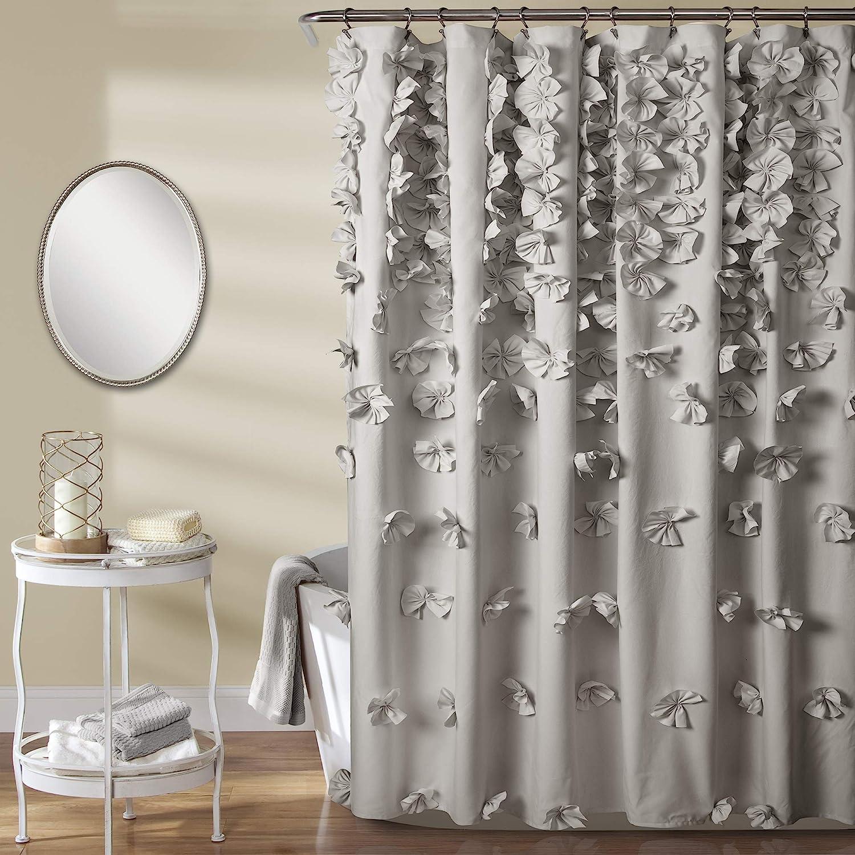 Lush Decor Riley Shower Curtain   Bow Tie Textured Fabric Shabby Chic Farmhouse Style for Bathroom, x 72, Light Gray