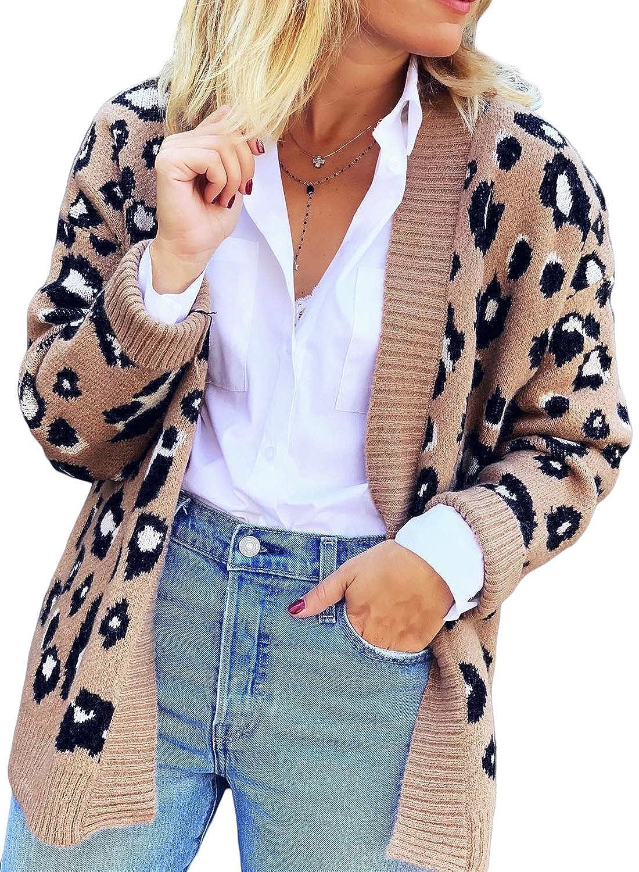 LOSRLY Womens Long Sleeve Leopard Print Open Front Knitting Cardigans Sweater Coat Outwear S-XL