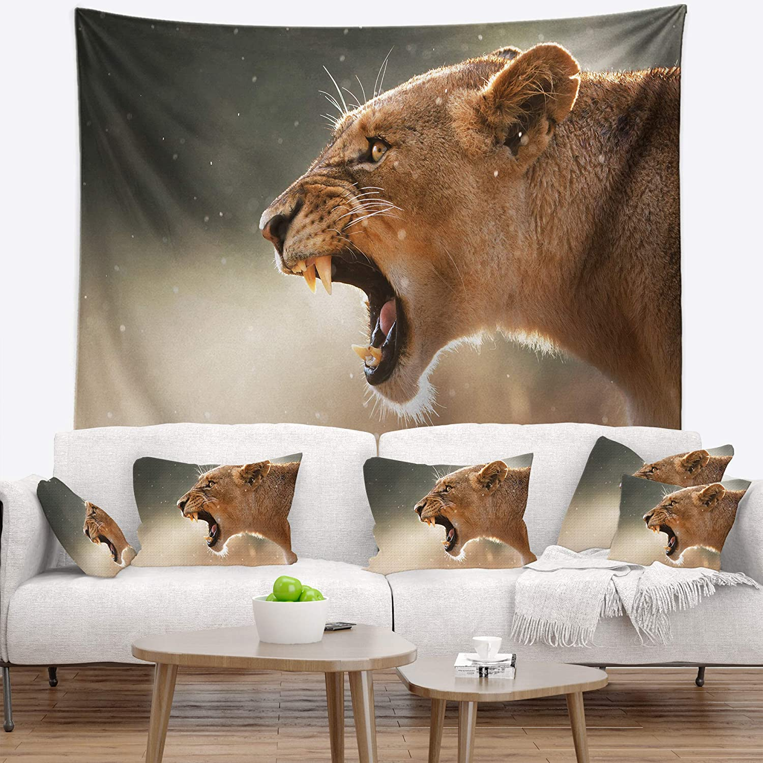 Designart TAP12948-39-32 'Lion Showing Dangerous Teeth' African Tapestry Blanket Décor Wall Art for Home and Office, Medium: 39 in. x 32 in, Created on Lightweight Polyester Fabric