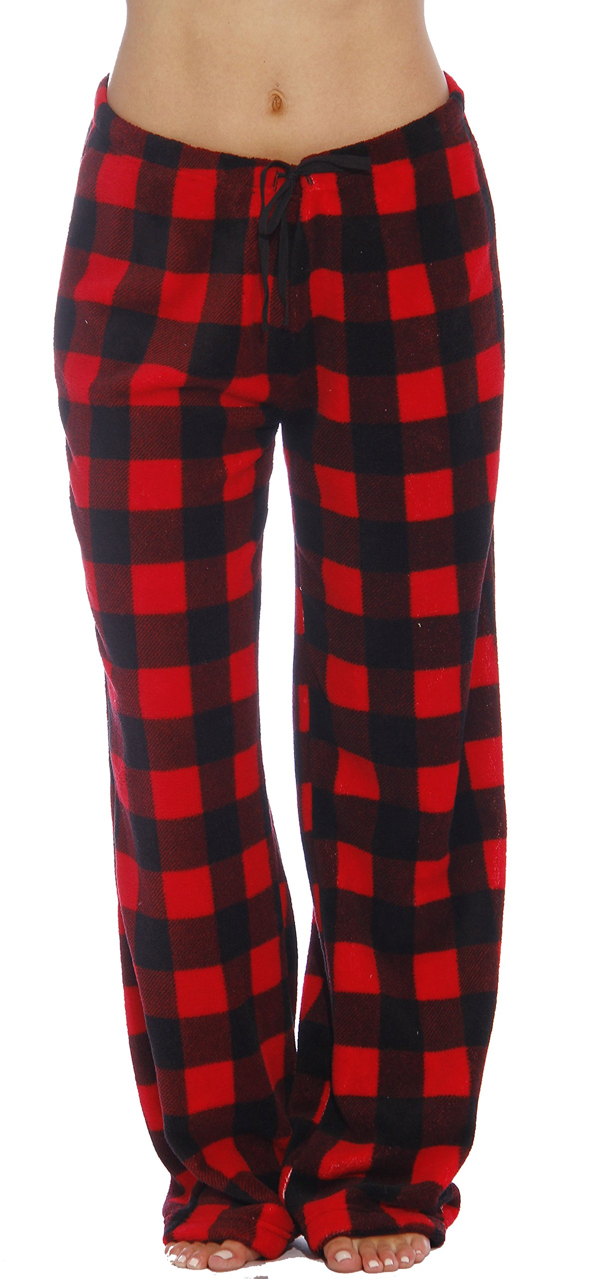 Just Love Women's Plush Pajama Pants, Small, Buffalo Plaid Red by Just Love (Image #1)