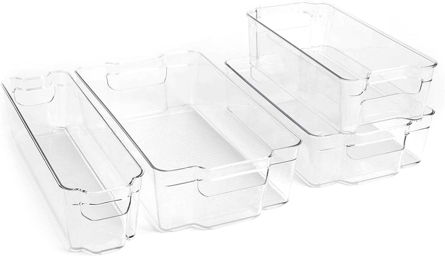 Dial Industries Refrigerator Organizer Stackable Bins, Set of 4, Assorted