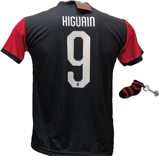 Tercera camiseta de fútbol Milan Higuain 9 réplica autorizada 2018-2019 con regalo calcetín llavero rosetón. Tallas de niño y adulto., Negro , L (adulto): Amazon.es: Ropa y accesorios