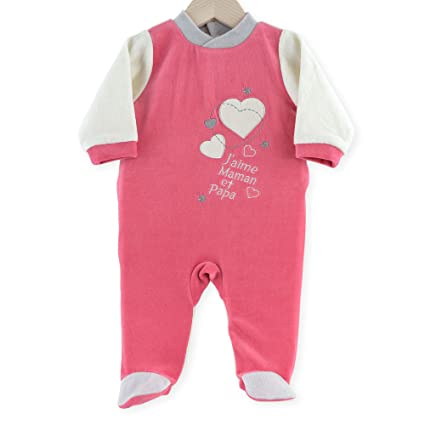 """Kinousses - Pijama para niña, color rosa, diseño con texto en francés""""J"""