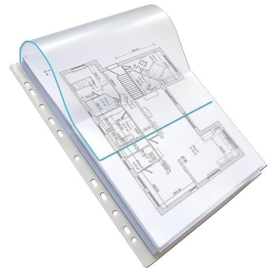 Elba 100207008 - Bolsa de 10 fundas multitaladro gran capacidad con solapa: Amazon.es: Oficina y papelería