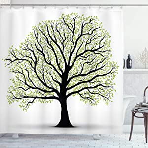 """Ambesonne Tree of Life Shower Curtain, Big Old Leaves and Branches Nature Growth Ecology Themed Artwork, Cloth Fabric Bathroom Decor Set with Hooks, 75"""" Long, Black White Green"""