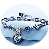 Amazon Price History for:Love Heart Ocean Blue Crystal Bracelet for Women and Teens Sapphire Birthstone Charm Eternal Love Bangle