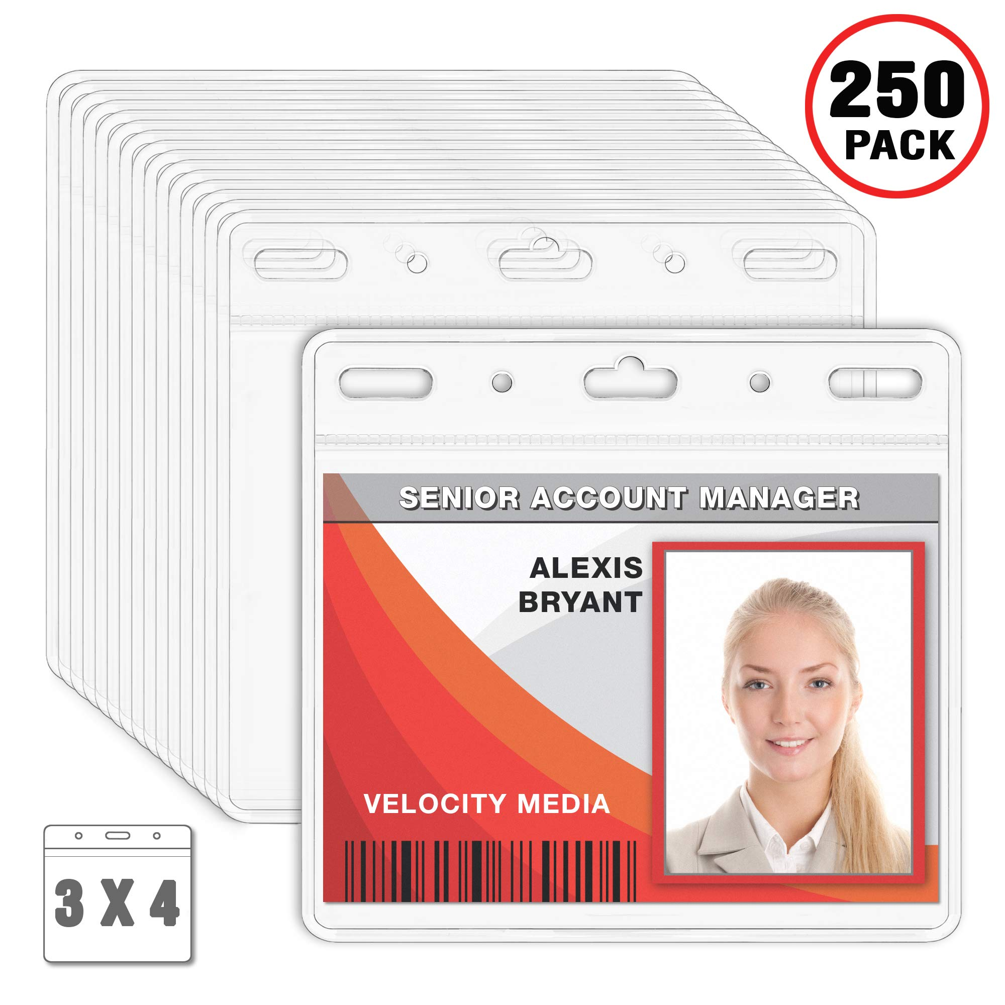 MIFFLIN Plastic Card Holder Horizontal 3x4 Inch Quick Load No Zipper Name ID Badge Clear Bulk 250 Pack