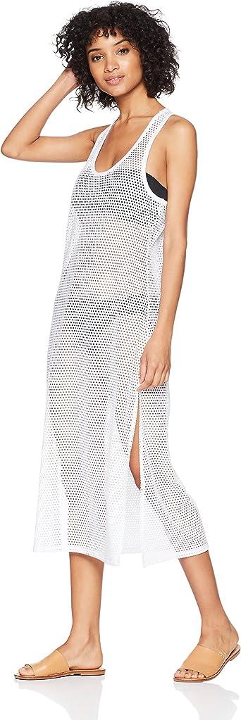 Calvin Klein Women's Solid Maxi Crochet Racerback Cover Up Tank Dress