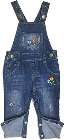 Kidscool Space Baby Girls Easy Diaper Changing Snap Legs Embroidered Cute Denim Overalls