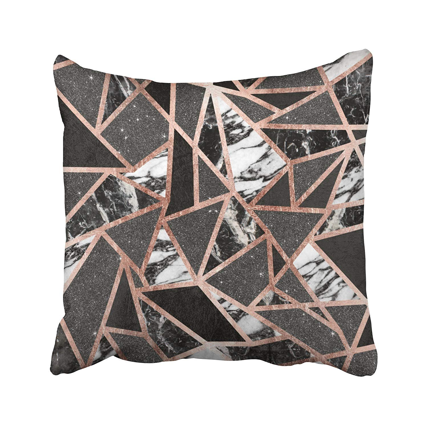 Modern Rose Gold Glitter Marble Geometric Triangle Accent Pillowcases Polyester 18 X 18 inch Square with Hidden Zipper Home Sofa Cushion Decorative Pillowcase ABC