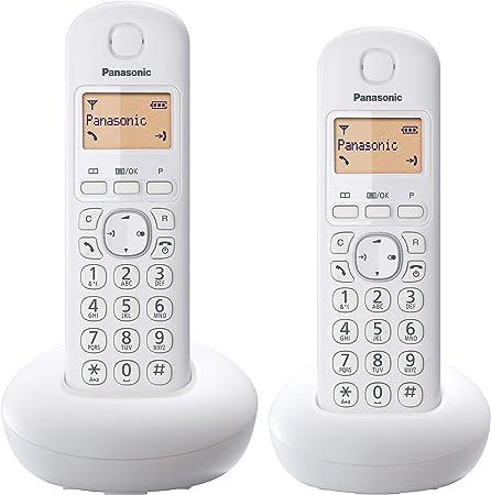 Panasonic KX-TGB212 - Teléfono fijo inalámbrico Dúo (LCD, identificador de llamadas, Intercomunicación, agenda de 50 números, tecla de navegación, alarma, reloj), Blanco, TGB21 Duo: Amazon.es: Electrónica