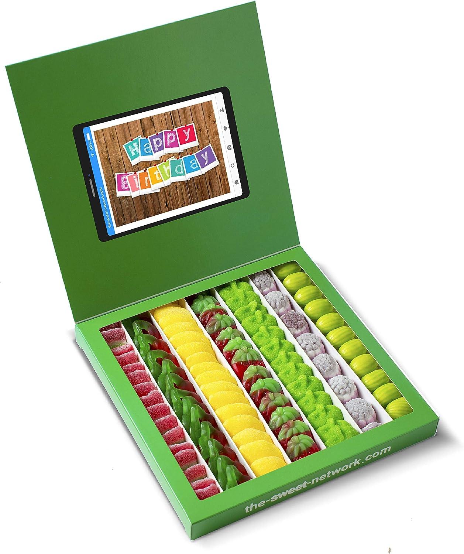 Caja golosinas Whatsapp 23x23cm con mensaje HAPPY BIRTHDAY, su interior contiene 750g de golosinas Fruit: Amazon.es: Alimentación y bebidas