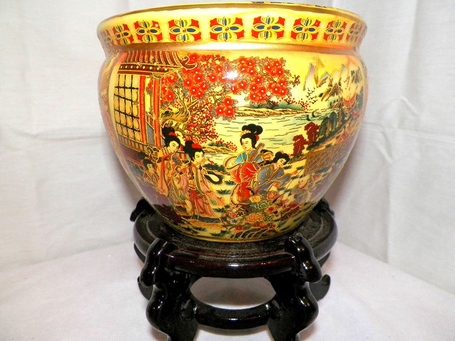 6 Oriental Geisha Playing Music Fish Bowl Jardiniere Planter Plant Pot Satsuma Style with Wooden Stand