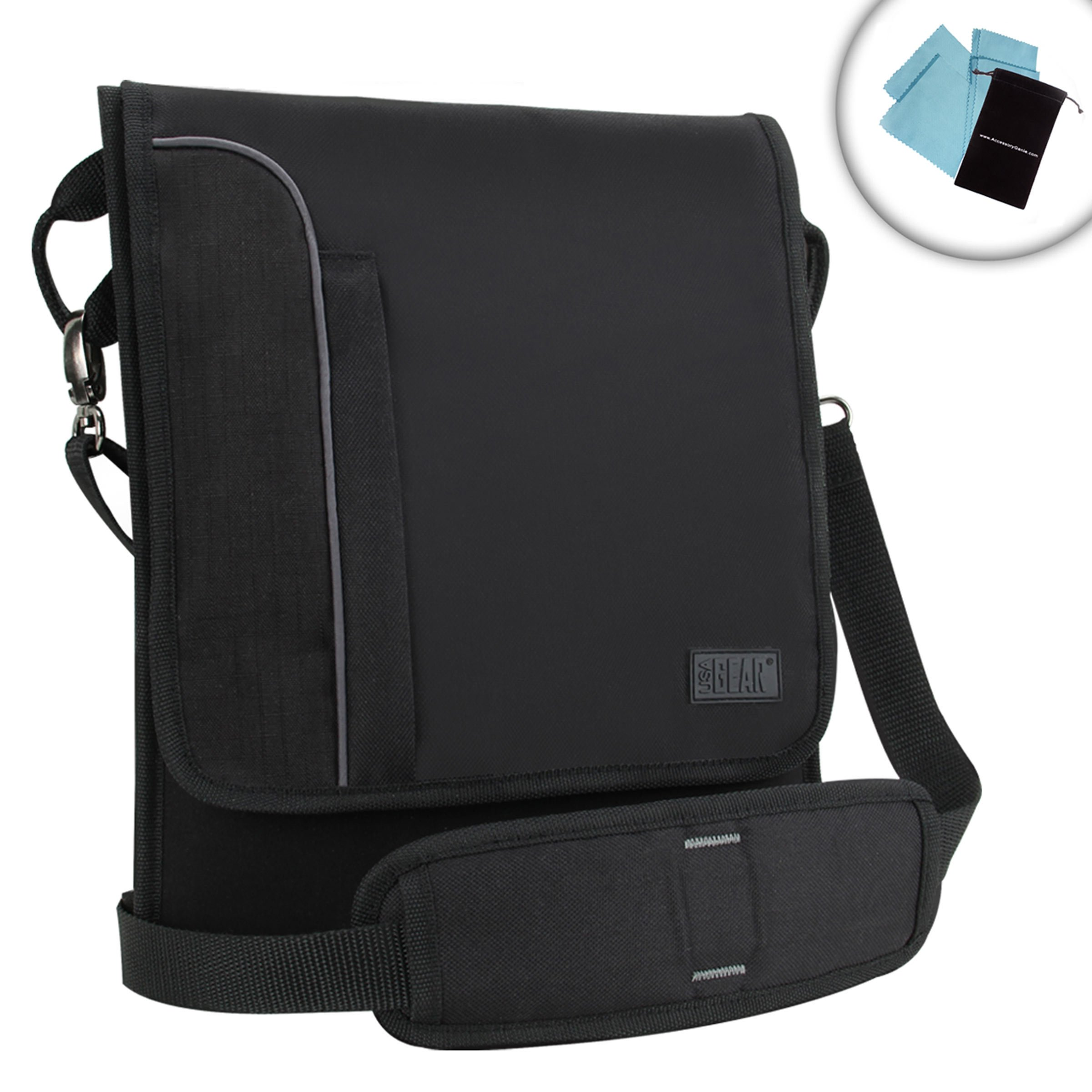 USA Gear Shoulder Sling 10.1-Inch Galaxy Tab A Tablet Case Messenger Bag S8 (Black) - Sleek & Slim Sleeve Design with Adjustable Carrying Strap & Two Pockets for 7'' and 10'' Samsung Tablets