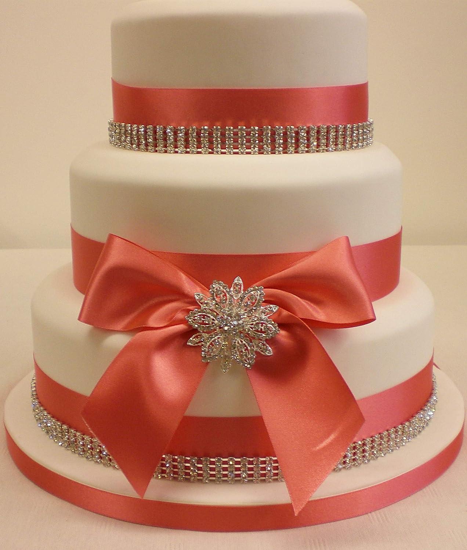 Cake Decoration Wedding Cake Rhinestone Brooch Rhinestone Trim And Satin Ribbon Cake Topper Set Coral Amazon Co Uk Kitchen Home
