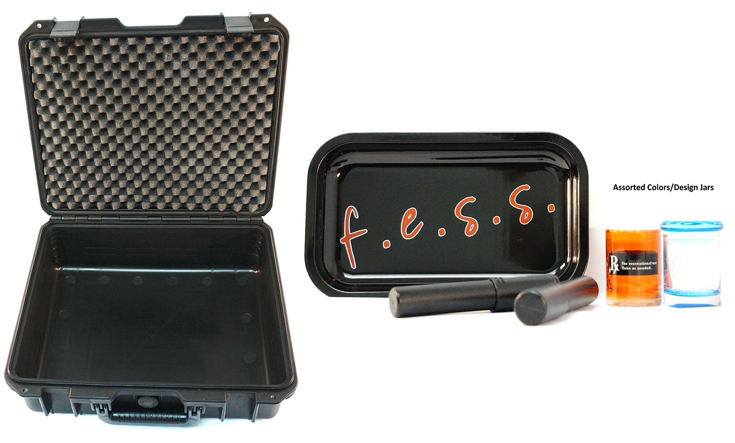 F.e.s.s Fess Large Odor Resistant Case 17'' Travel Storage Stash Box Container - Fits Stash Jar , Grinder , Raw Cone or Papers, Fess Lighter and Includes Accessories (2 Jars, 2 Tubes, 1 Rolling Tray)