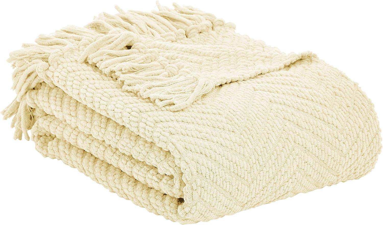 AmazonBasics Chunky Knitted Fringed Throw Blanket - 50 x 60 Inches, Ivory