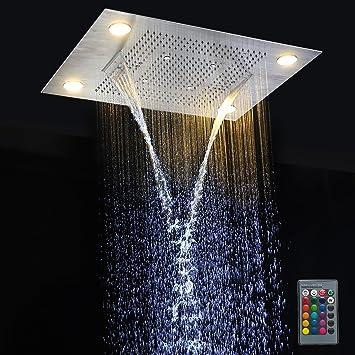 Juego De Ducha LED Ducha De Techo Con Control Remoto Luces LED Ducha De Lluvia Con Cabezal De Ducha Rainfall: Amazon.es: Bricolaje y herramientas