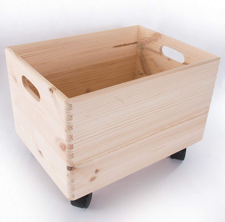 Caja de almacenamiento apilable de madera grande con asas y ruedas (organización, caja de almacenamiento, 40 x 30 x 27 cm (incluyendo las ruedas de 3 cm): Amazon.es: Hogar