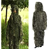 Ghillie Suit,OUTERDO Camo Suit Woodland and Forest Design Military Leaf Hunting and Shooting Accessories Tactical Camouflage Clothing Free Size for Airsoft, Wildlife Photography Halloween