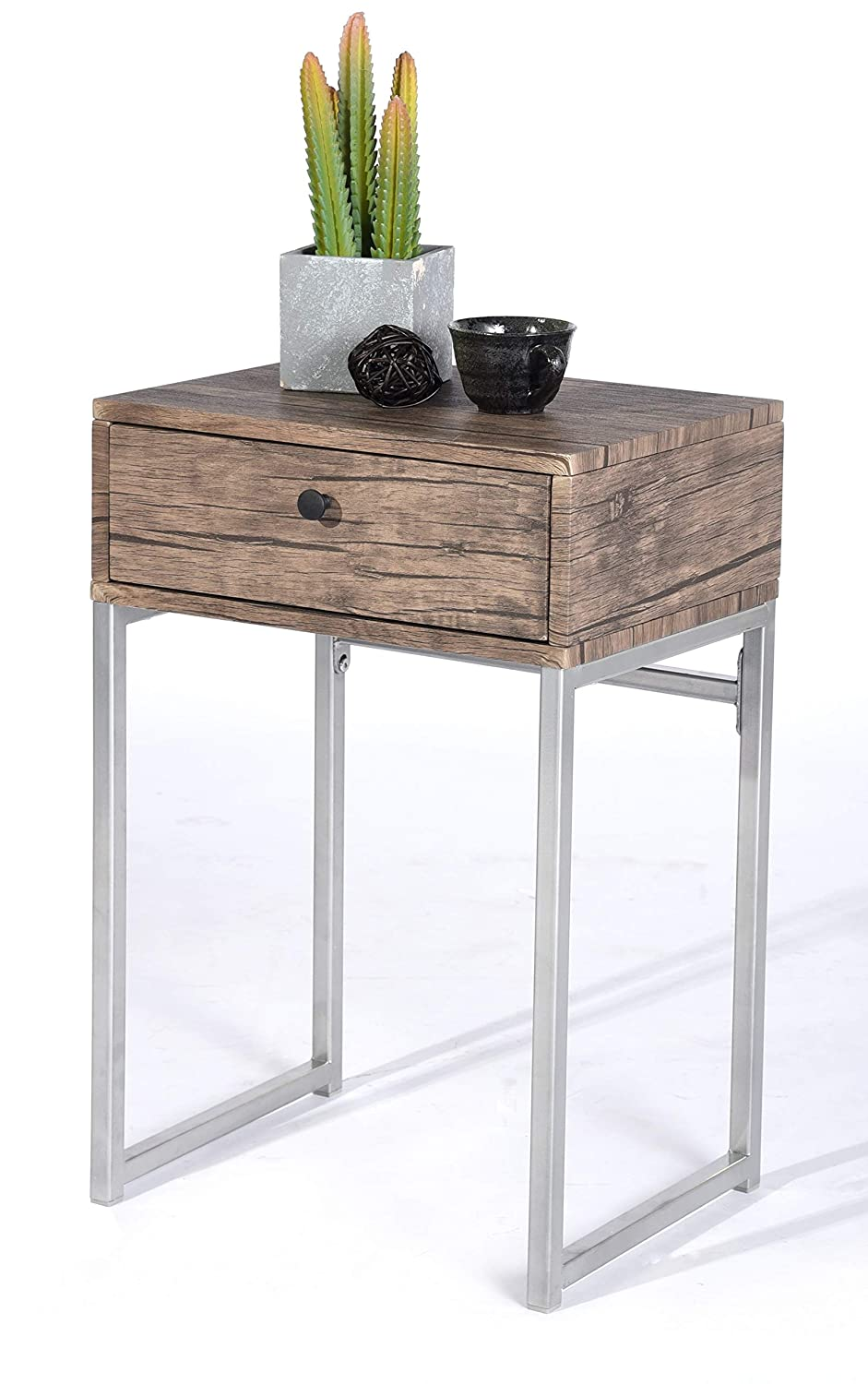 Vintage Dark Brown/Silver Metal Frame Nightstand Side End Table with Drawer None 5250