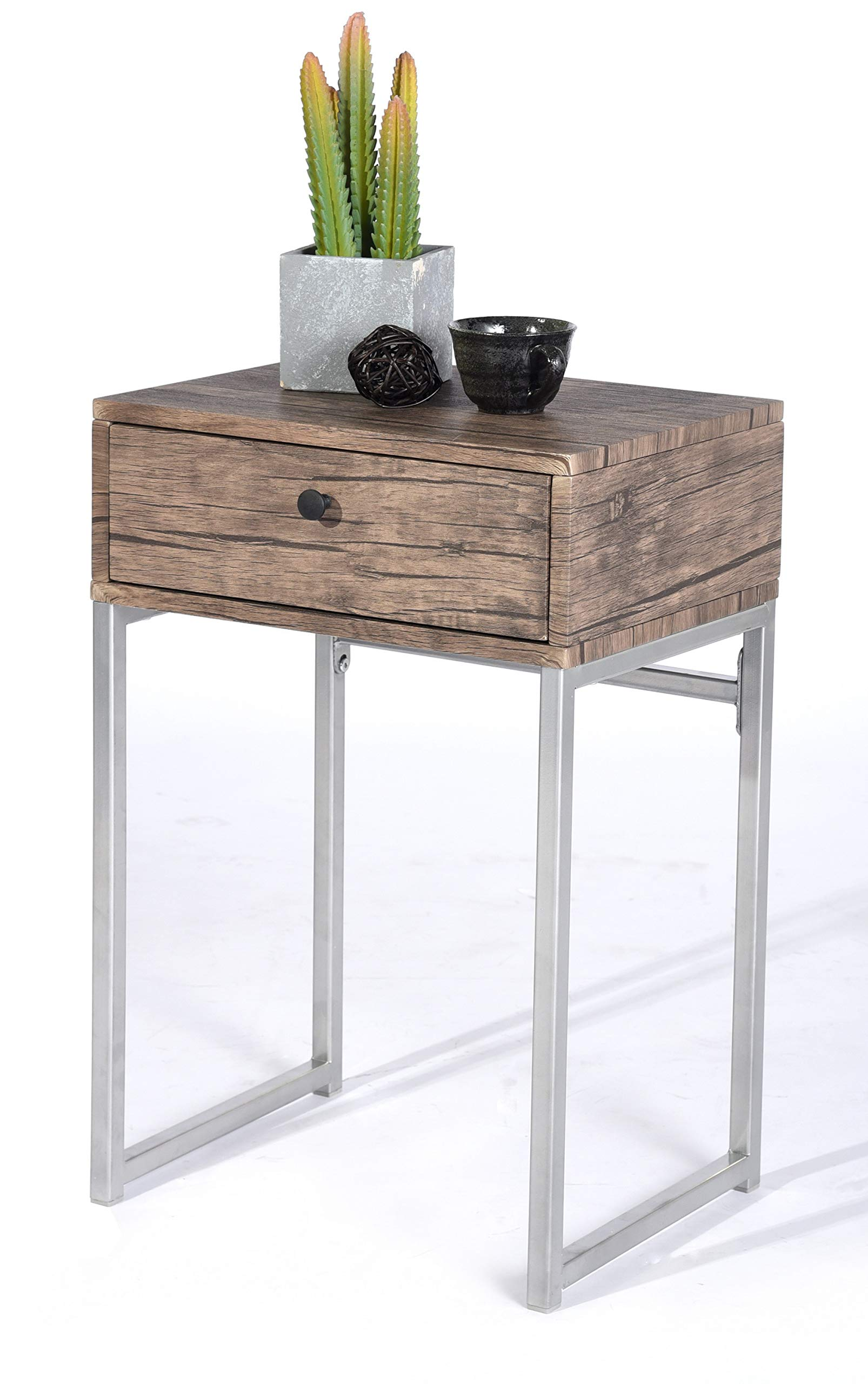 Vintage Dark Brown/Silver Metal Frame Nightstand Side End Table with Drawer - Color: Dark Brown and Silver Material: Metal, MDF/Hardwood Features one drawer for extra storage - nightstands, bedroom-furniture, bedroom - 814a8zFQeYL -
