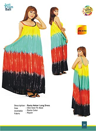Just From Bali Rasta Neker Long Dress At Amazon Women S Clothing Store
