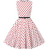 Kate Kasin Girls Sleeveless Polk Dot Casual Swing Dresses with Belt