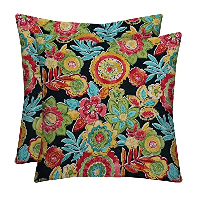 "RSH Décor Indoor Outdoor Medallion & Dotted Tab Prints - 2 Square Pillows Weather Resistant - Choose Color & Size (Herrick Fresco Fiesta Red Yellow Aqua Blue Floral, 17""x17""): Home & Kitchen"