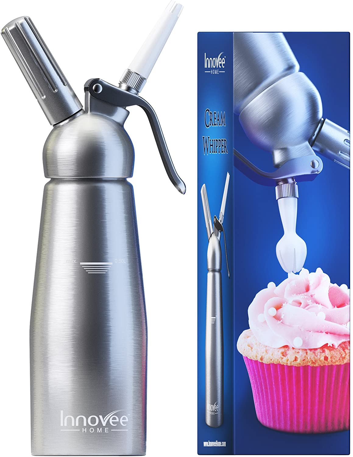Innovee Cream Whipper (1-Pint) Professional Aluminum Whipped Cream Dispenser W/ 3 Decorating Nozzles & Free Desserts Recipes (e-book) Uses Standard N20 Cartridges (not included) Innovee Home XK1008