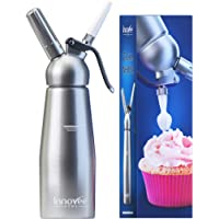 Innovee Cream Whipper (1-Pint) Professional Aluminum Whipped Cream Dispenser W/ 3 Decorating Nozzles & Free Desserts Recipes (e-book) Uses Standard N20 Cartridges (not included)