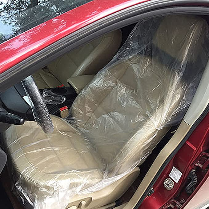 Wakauto 100PCS Car Seat Cover Anti-fouling Plastic Anti-dirty Dustproof Disposable Car Seat Cover Cushion Cover for Auto Vehicle