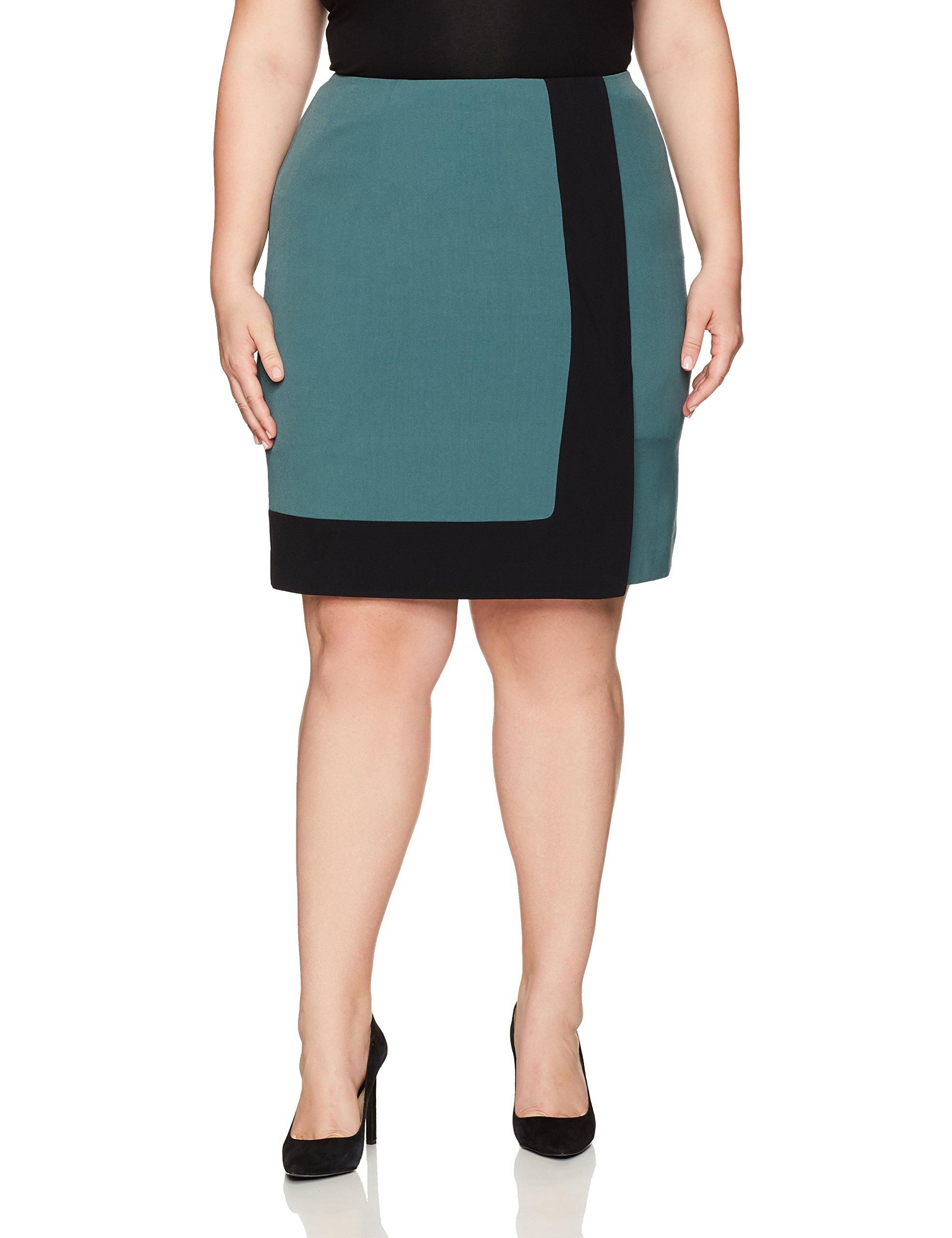 Nine West Women's Plus Size A Line Colorblock Skirt, Patina/Black, 20W by Nine West