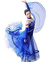 Colorfulworldstore Maßgeschneidertes Frauen-Turnierkleid für Modern-Dance, Walzer und Tango-Ärmelloses doppellagiges transparentes Kleid