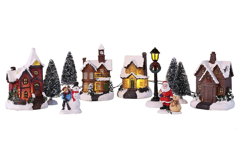 Weihnachtsstadt Mit Schneedekoration Weihnachtsdorf Led Lichthauser