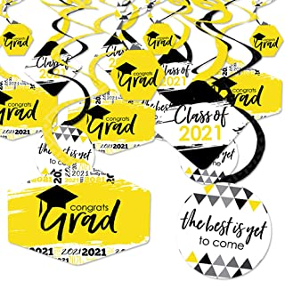 product image for Big Dot of Happiness Yellow Grad - Best is Yet to Come - 2021 Yellow Graduation Party Hanging Decor - Party Decoration Swirls - Set of 40