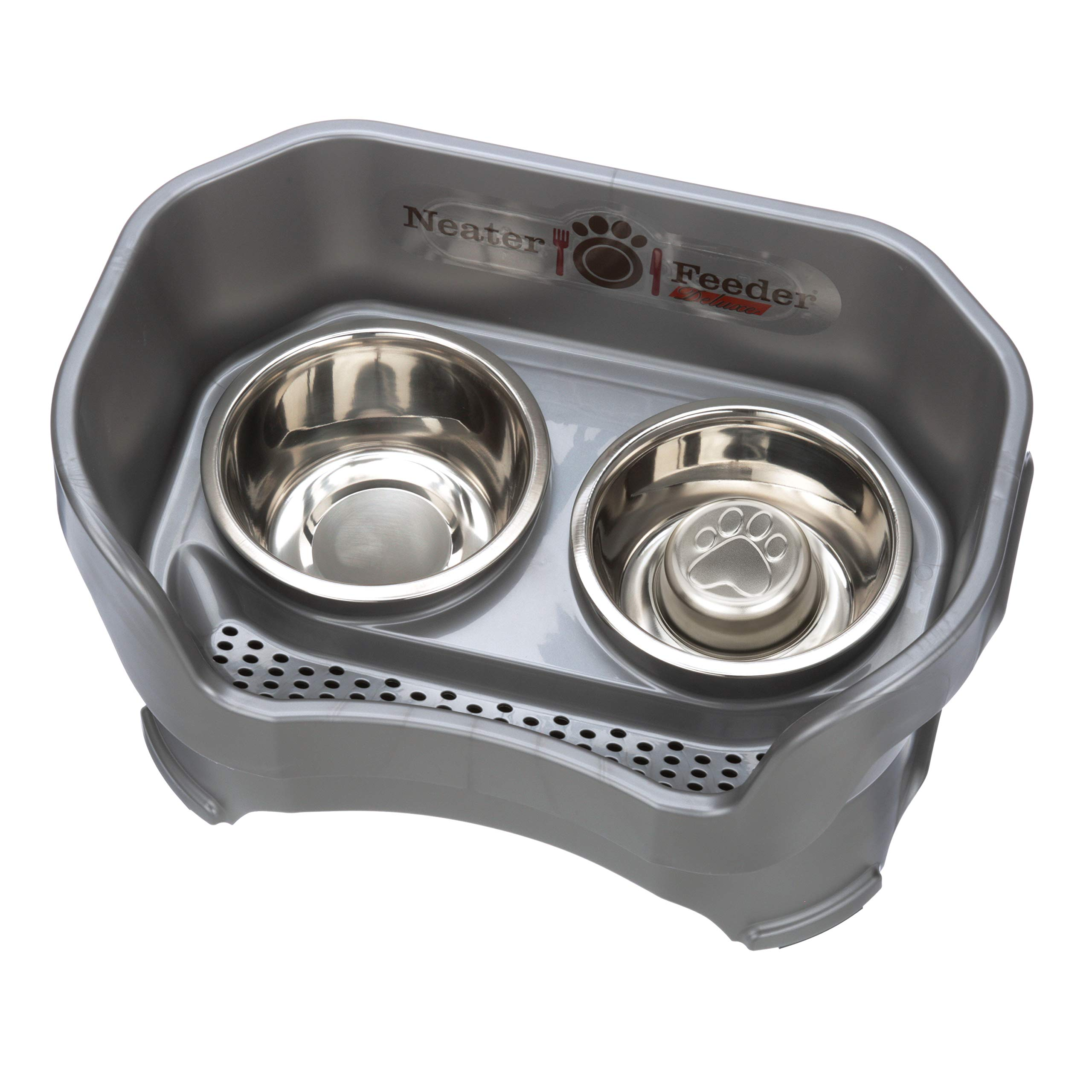 Neater Feeder Deluxe Dog (Medium + Slow Feed Bowl Combo, Gunmetal Grey) by Neater Pet Brands
