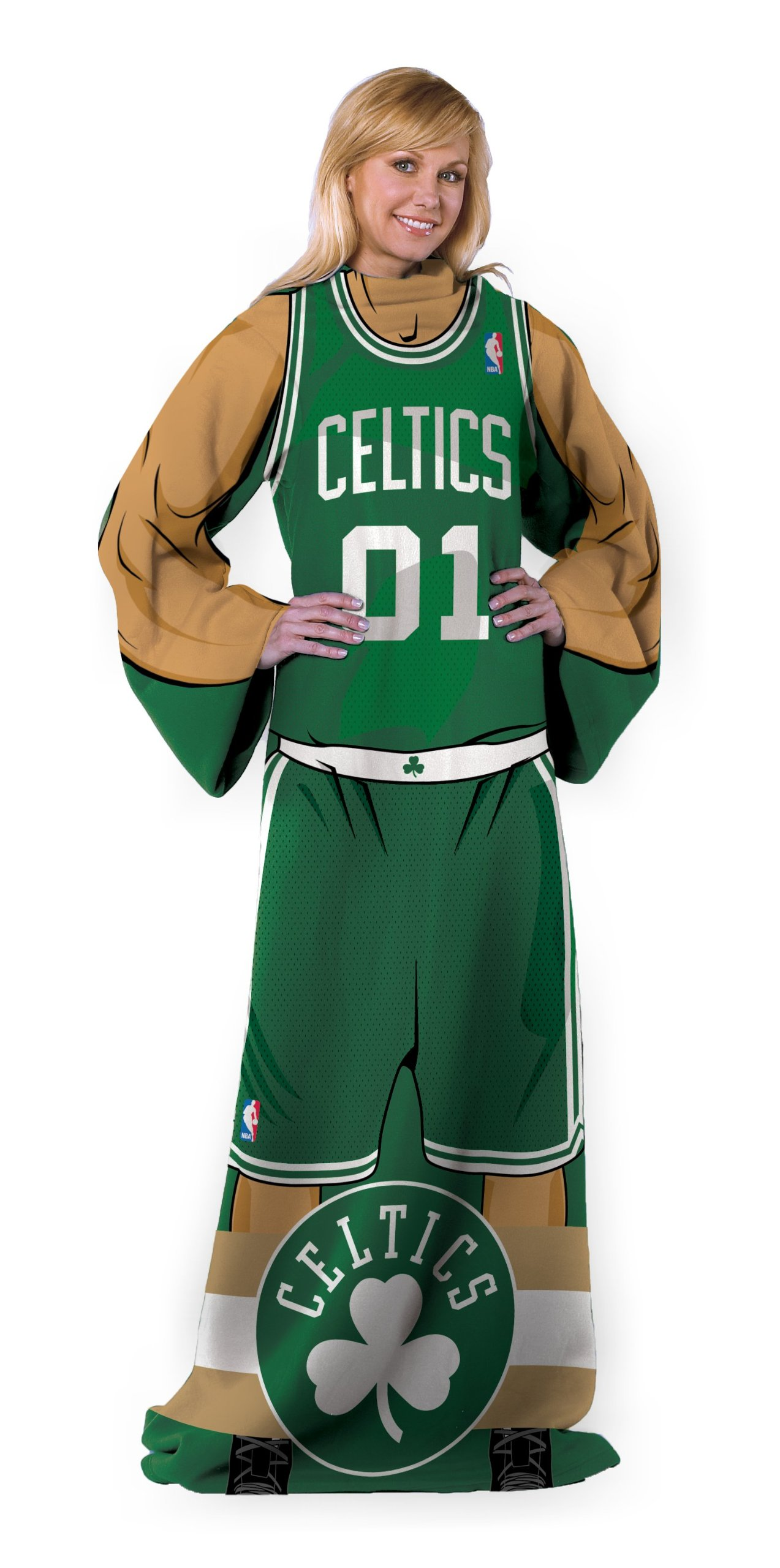 The Northwest Company Officially Licensed NBA Boston Celtics Full Body Player Adult Comfy Throw Blanket, 48'' x 71''