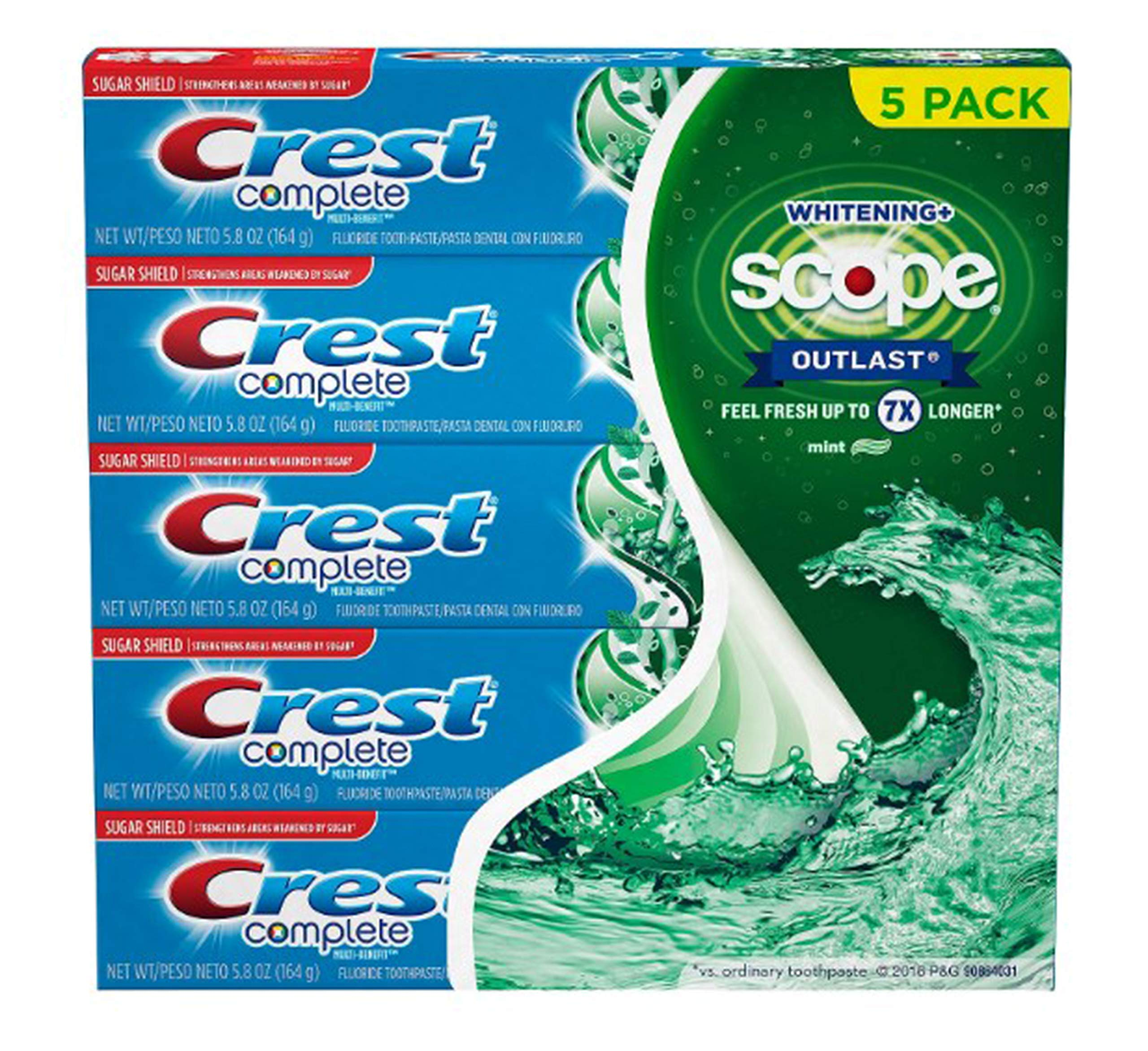 Crest Complete Whitening + Scope Toothpaste, Mint, 5.8 Ounce (5 Pack)