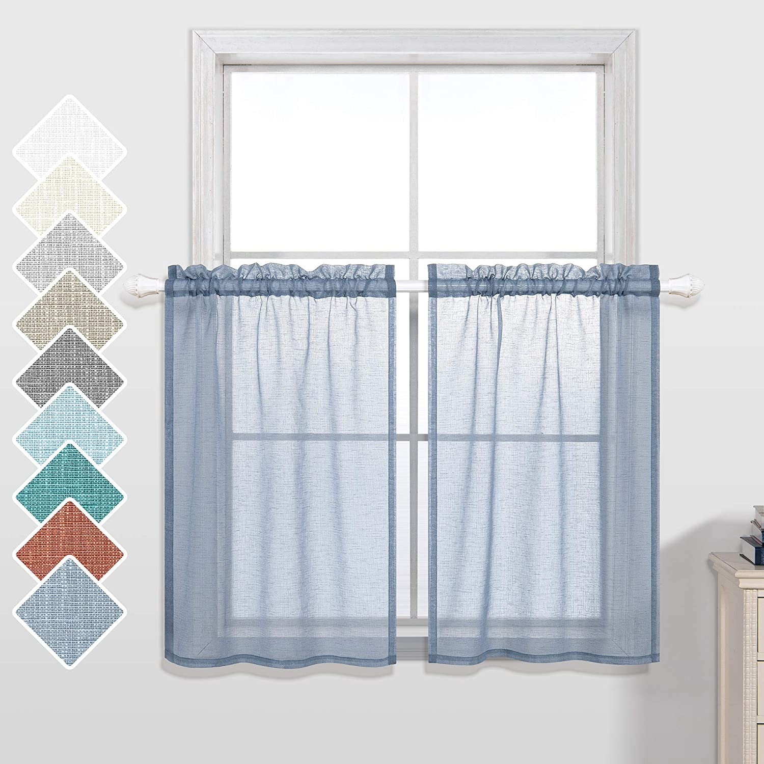 KOUFALL Dusty Blue Short Curtains 24 Inch Length for Small Windows Set of 2 Pieces Sheer Kitchen Curtains 30x24 Long