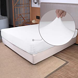 Box Spring Cover and Stretch Sheets(4 pc) - 4 Way Stretch Tech to Fit Snugly