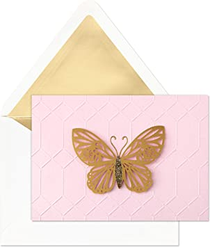 Butterfly Stationery Card For Her 5x7 Greeting Card Spring Time Card Girls Notecard Blank Birthday Card Gold Butterfly Card