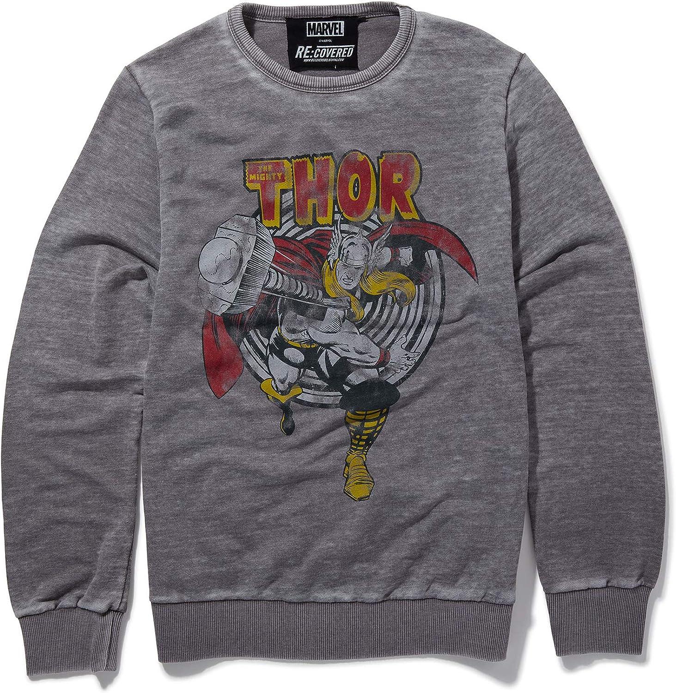 """Mittelgrau Recovered Marvel Sweatshirt /""""Der m/ächtige Thor/"""" /& Retro-Hammer"""