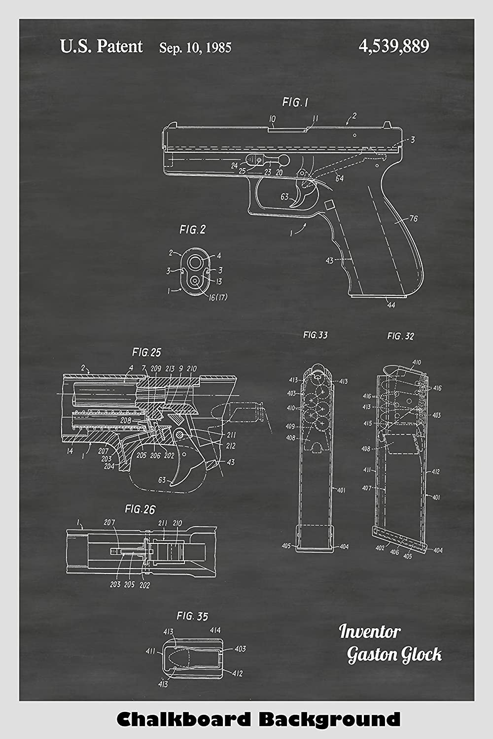 Glock Pistol Patent Print Art Poster: Choose From Multiple Size and Background Color Options
