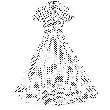 LUOUSE Damen 1950er Vintage Solid Color Plissiert Swing Kleid,White,XXXL