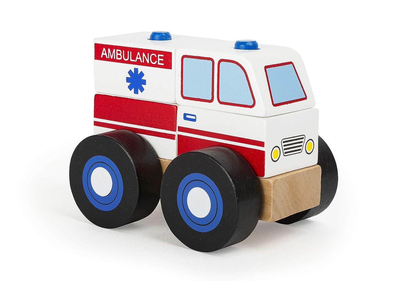 achat Small Foot- Véhicule Bois, certifié FSC 100%, Ambulance à Assembler, Les Blocs de Construction Jouets, 11074, Multicolore pas cher prix