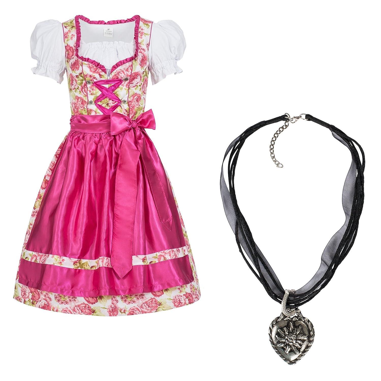 Gaudi-Leathers Dirndl Set 4 TLG Sch/ürze pink Leuchtend Trachtenkleid Mimi m Dirndlkette Marke