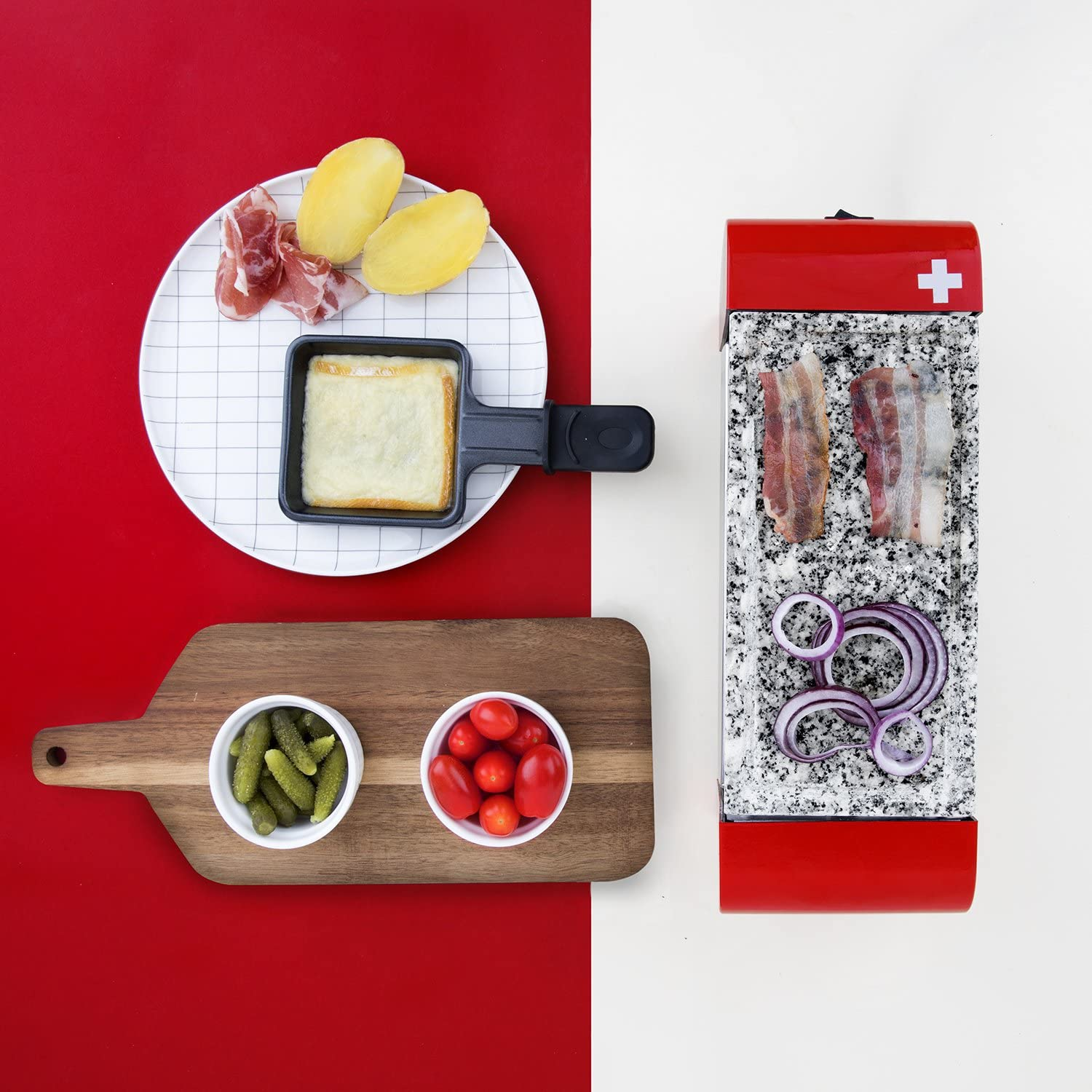 H.Koenig Raclette Grill 2-in-1 Stone Grill Rural Red RP2 2 Person
