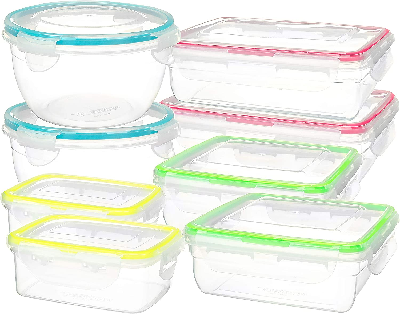 16 Piece Clip Lock Food Container Storage Set - Microwave & Dishwasher Safe Kitchen Box